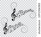 set of music notes  musical... | Shutterstock .eps vector #1091506583
