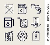 set of 9 fuel outline icons... | Shutterstock .eps vector #1091507219