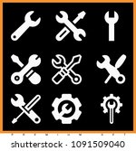 set of 9 wrench filled icons... | Shutterstock .eps vector #1091509040