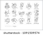 set of 15 minimal american sign ... | Shutterstock .eps vector #1091509574