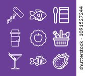 set of 9 food outline icons... | Shutterstock .eps vector #1091527244