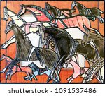 Wild Horses. Collage And Black...