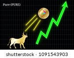 gold bull  throwing up pure ... | Shutterstock .eps vector #1091543903