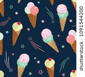 fun ice cream and stars...   Shutterstock .eps vector #1091544200