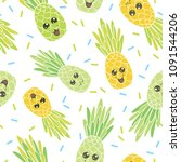 cute pineapple faces seamless... | Shutterstock .eps vector #1091544206