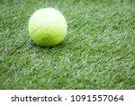 tennis is on green grass | Shutterstock . vector #1091557064