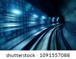 high speed with binary code... | Shutterstock . vector #1091557088