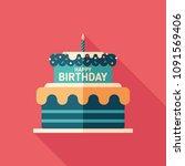 Birthday Cake Flat Square Icon...