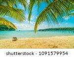beautiful tropical beach and... | Shutterstock . vector #1091579954