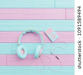 earphone with colorful wooden... | Shutterstock . vector #1091589494