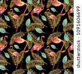 flamingos and golden tropical... | Shutterstock . vector #1091606699