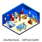 vector isometric people resting ... | Shutterstock .eps vector #1091611640