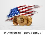 crypto currency  gold coin... | Shutterstock . vector #1091618573