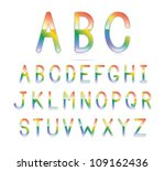 a clean and glossy rainbow font.... | Shutterstock . vector #109162436