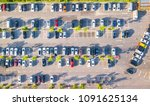 aerial view  parking lot and car | Shutterstock . vector #1091625134