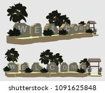 rock carving welcome sign ... | Shutterstock .eps vector #1091625848