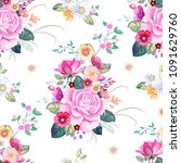 seamless pattern with vintage...   Shutterstock .eps vector #1091629760