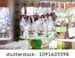 chocolate and candy in bags... | Shutterstock . vector #1091635598