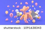 dog balloons are among the...   Shutterstock . vector #1091638343