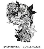 carp fish and chrysanthemum... | Shutterstock .eps vector #1091640236