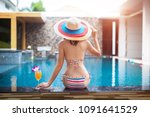 slim woman bikini with hat... | Shutterstock . vector #1091641529