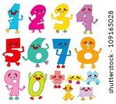 set of funny cartoon numbers... | Shutterstock .eps vector #109165028