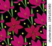 vector seamless natural pattern ... | Shutterstock .eps vector #1091651480