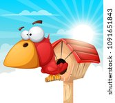 cartoon birdhouse illustration. ... | Shutterstock .eps vector #1091651843