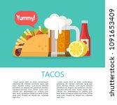 tacos. mexican delicious fast... | Shutterstock .eps vector #1091653409