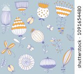 spring flowers pattern. floral... | Shutterstock .eps vector #1091654480