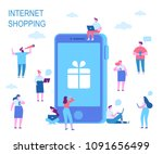 mobile shopping concept.... | Shutterstock .eps vector #1091656499
