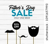 fathers day sale card. vector... | Shutterstock .eps vector #1091657993