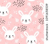 Stock vector cute rabbit seamless pattern bunny hand drawn forest background with flowers and dots vector 1091658539