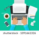 Stock vector writer writing on computer paper sheet vector illustration flat cartoon person editor write 1091661326