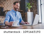 man working on laptop and... | Shutterstock . vector #1091665193