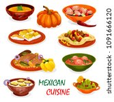 mexican cuisine icon of dinner...   Shutterstock .eps vector #1091666120