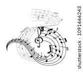 music note stave icon of... | Shutterstock .eps vector #1091666243