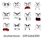 angry human face with negative... | Shutterstock .eps vector #1091666300