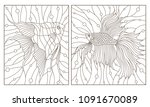 set contour illustrations in... | Shutterstock .eps vector #1091670089