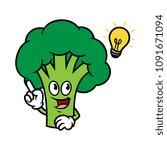 cartoon broccoli character with ... | Shutterstock .eps vector #1091671094