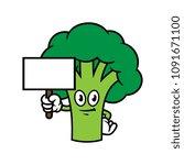cartoon broccoli character... | Shutterstock .eps vector #1091671100