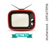 retro television isolated on...   Shutterstock .eps vector #1091673956