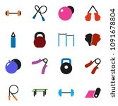 solid vector icon set   barbell ... | Shutterstock .eps vector #1091678804