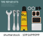 set of tire repair kits on blue ... | Shutterstock .eps vector #1091699099