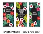 summer banner set with tropical ... | Shutterstock .eps vector #1091701100