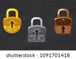 cartoon collection of gold ... | Shutterstock . vector #1091701418
