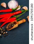 red chili pepper  garlic and...   Shutterstock . vector #1091705180