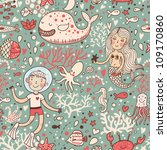funny vintage seamless pattern... | Shutterstock .eps vector #109170860