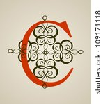 calligraphic vintage red c... | Shutterstock .eps vector #109171118