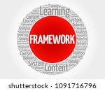 framework circle word cloud ... | Shutterstock . vector #1091716796